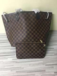 LV neverfull red inside tote handbag 32 cm