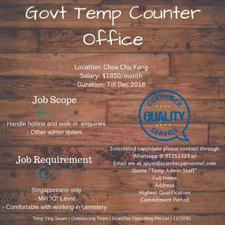 Govt Temp Counter Officer (Choa Chu Kang, $1850/month)