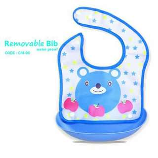 Waterproof Bib with Removable Food Catcher Pocket - CM06