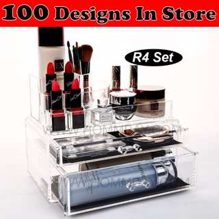 Jewellery Jewelry Organiser Organizer Clear Acrylic Transparent Make Up Makeup Cosmetic Drawer Storage Box Holder (R4)