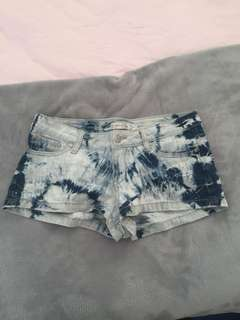 Mink Pink tie dye denim shorts