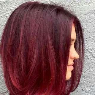Warm Bugundy Red hair dye