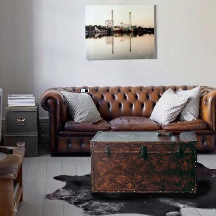 100cm Trunk Faux Leather Coffee Table