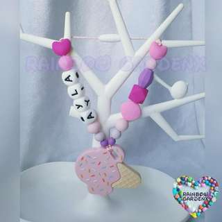 Pink Ice cream teether with customised name + beads carrier accessory
