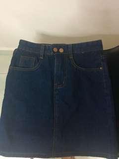 Button Denim Skirt