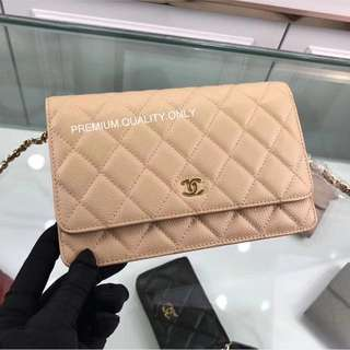 Chanel Wallet on Chain beige Caviar