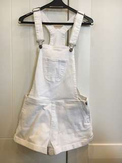 Lee white denim dungarees