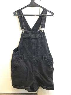 Topshop black denim dungarees