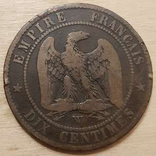 1856 Empire of France Napolean III 10 Centimes Coin