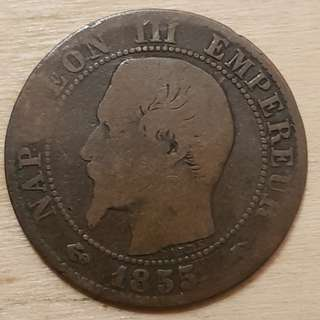 1855 Empire of France Napolean III 5 Centimes Coin