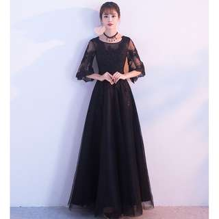 Gown Collection - Romantic Loose Mid Length Sleeves Black Lace Gown