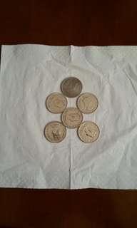 香港硬幣:大1元:女皇頭:/1973年2個:/1975年3個:>共5個