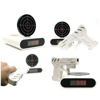 Infrared Laser Target Shooting Gun Alarm Clock White