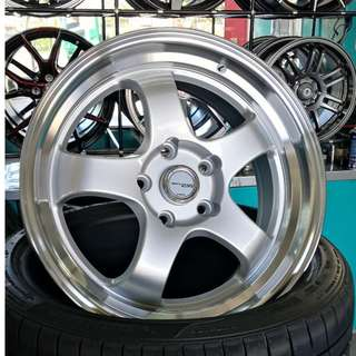 "WORK Meister Silver with Full Polish Lip S1R 17"" 5x114.3 Sport Rims"