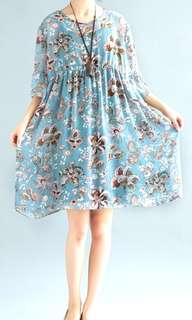 FREE size Summer short-sleeved cotton and linen dress