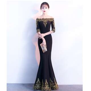 Gown Collection - Golden Embroidered Borders Off Shoulder Mid Length Sleeves Gown
