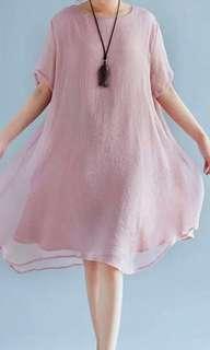 BN Free Size Summer short-sleeved linen Dress
