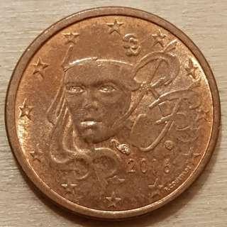 2016 Euro 1 Cent Coin France Design