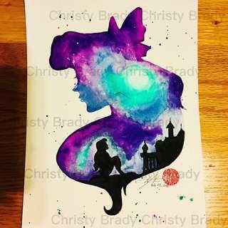 🤫迪士尼公主系列 ~ 小魚仙 (自家製作水彩畫) 只售彩色複印本