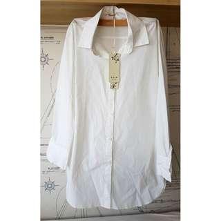 Brand New Ladies' White Long Blouse (Free Size, Measurement in Description)