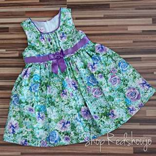 Purple & Green Satin Type Floral Dress