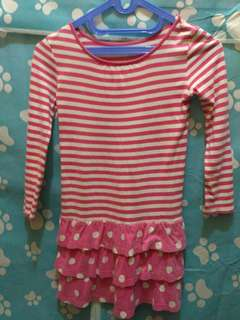 Dress Salur Pink White Polka