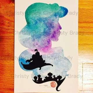 🤫迪士尼公主系列 ~ 阿拉丁 (自家製作水彩畫) 只售彩色複印本
