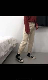 🚚 Roomee 銀扣撞色車線下虛邊高腰直筒褲