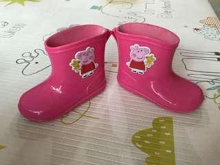🚚 佩佩豬可愛粉紅雨鞋-14cm-二手