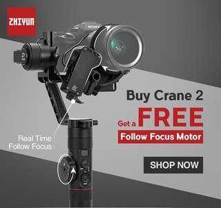 ZHIYUN CRANE 2 with Free Servo Follow Focus Motor