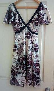 Silk Japanese Flower Patterned Cream V-neck Low back Strappy Formal Evening Dress