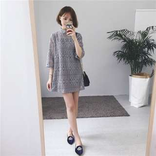 Crochet Dress with Inner Dress in Grey