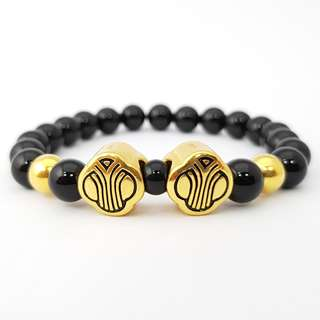 999 Gold Charms With Black Bead - M 8MM