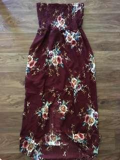 Maroon maxi slit dress