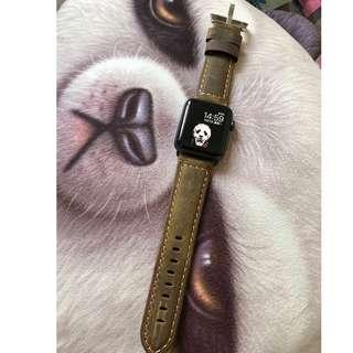 [Brandnew] Apple watch band 42mm 啡色真皮錶帶 (*已換黑色連接扣)