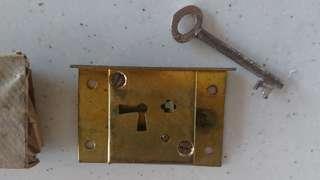 Vintage cupboard door brass lock