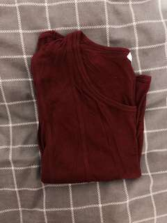 Country road maroon loose tshirt style top xxs but like s/m