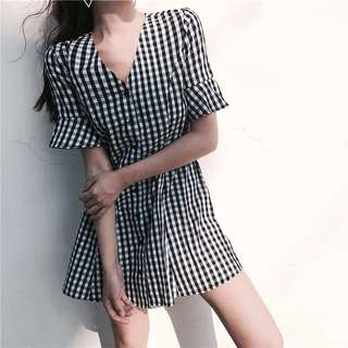 INSTOCKS Dolce checkered button down dress
