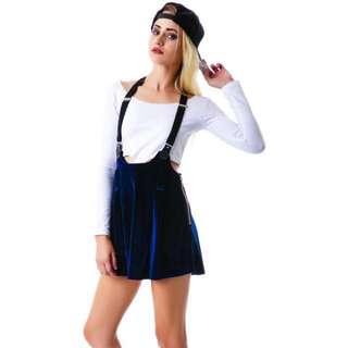 🌟 UNIF Velvet Suspender Dropout Skirt