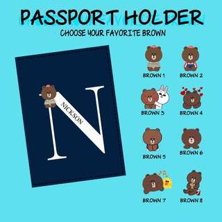 Custom Personalised Passport Cover - Brown