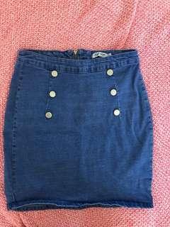Denim blue skirt