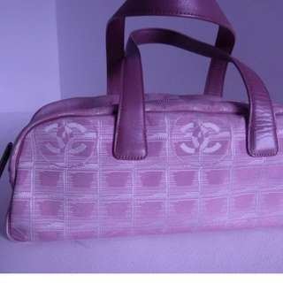 CHANEL Travel Line Pink Canvas Shoulder Bag