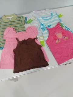 6pc tops for 2yr old girl