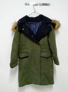 Coat with Authentic Raccoon Fur