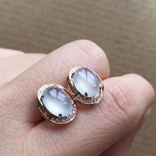 18K鑽石天然A貨冰蛋耳釘