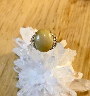 純銀925黃翡翠玉戒指 鋯石 活動圈口