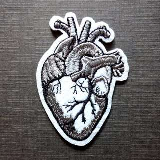 Heart Anatomy Black White Iron On Patch