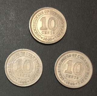 Coin - Malaya 1949 - 10 Cent King George VI (Each $4 or all 3 for $10)