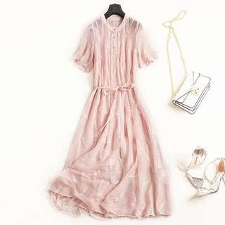 🚚 氣質刺繡長裙