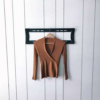 X Knitted Long Sleeve Blouse